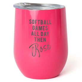 Softball Stainless Steel Wine Tumbler - Games All Day Then Rosé