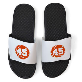 Basketball White Slide Sandals - Basketball with Number