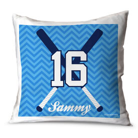 Softball Throw Pillow Personalized Crossed Bats With Chevron