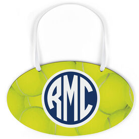 Tennis Oval Sign - Monogrammed Ball Background