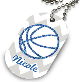 Basketball Printed Dog Tag Necklace Personalized Glitter Basketball