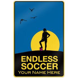 "Endless Soccer Aluminum Room Sign (F) (18"" X 12"")"