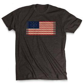 Hockey T-Shirt Short Sleeve Hockey Laces Flag