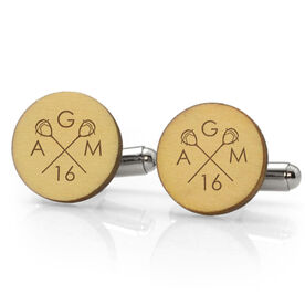 Guys Lacrosse Engraved Wood Cufflinks Crossed Goalie Stick Monogram With Your Number