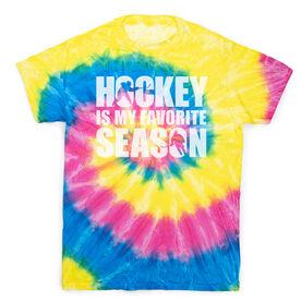 Hockey Short Sleeve T-Shirt - Hockey Is My Favorite Season Tie Dye
