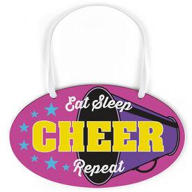 Cheerleading Oval Sign - Eat Sleep Cheer Repeat