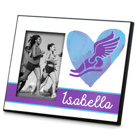 Track and Field Photo Frame Watercolor Heart Winged Foot