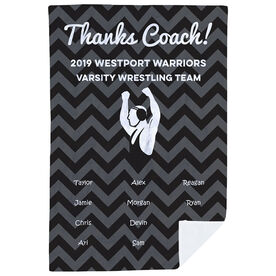 Wrestling Premium Blanket - Personalized Thanks Coach Chevron