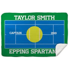 Tennis Sherpa Fleece Blanket - Personalized Tennis Captain