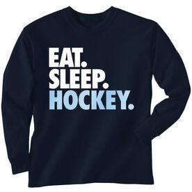 Hockey T-Shirt Long Sleeve Eat. Sleep. Hockey.