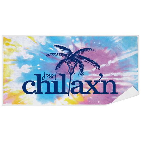 Girls Lacrosse Premium Beach Towel - Just Chillax'n Tie-Dye