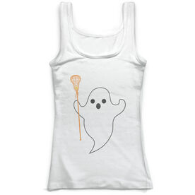 Girls Lacrosse Vintage Fitted Tank Top - Ghost with Lacrosse Stick