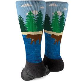 Fly Fishing Printed Mid-Calf Socks - Flynn The Fly Fishing Dog