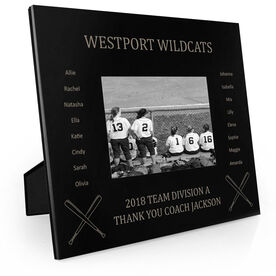 Softball Engraved Picture Frame - Team Name With Roster