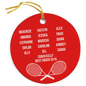 Tennis Porcelain Ornament Personalized Team Roster