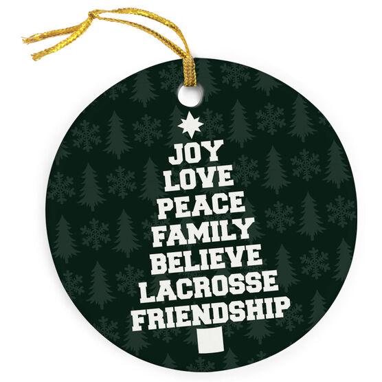 Guys Lacrosse Porcelain Ornament Joy Peace Lacrosse