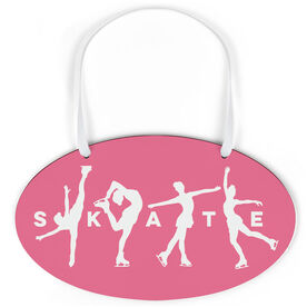 Figure Skating Oval Sign - Skate With Silhouettes