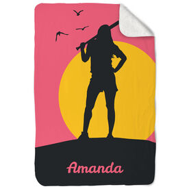 Softball Sherpa Fleece Blanket Personalized Sunset Girl