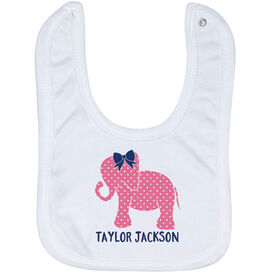 Personalized Baby Bib - Elephant with Bow