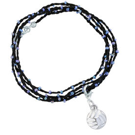 Volleyball Beaded Wrap Bracelet - Flat Back Enamel Volleyball