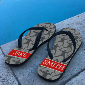 Football Flip Flops Personalized Player Silhouette Pattern