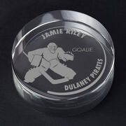 Hockey Personalized Engraved Crystal Puck - Customized Goalie