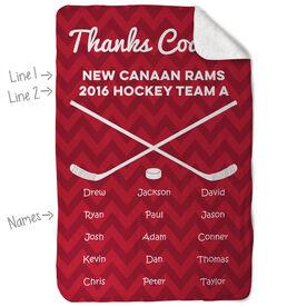 Hockey Sherpa Fleece Blanket Personalized Thanks Coach Chevron