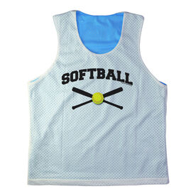 Girls Softball Racerback Pinnie Personalized Softball with Crossed Bats Black
