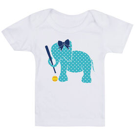 Softball Baby T-Shirt - Softball Elephant with Bow