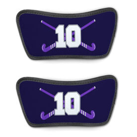 Field Hockey Repwell™ Sandal Straps - Crossed Field Hockey Sticks with Numbers