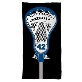 Guys Lacrosse Beach Towel Personalized Stick Head