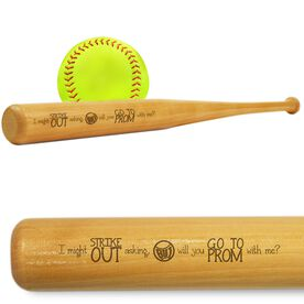 Softball Mini Engraved Bat Strike Out Prom
