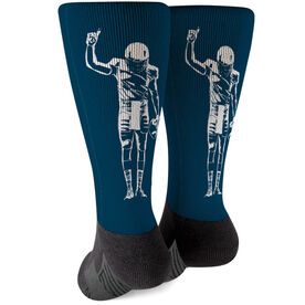 Football Printed Mid-Calf Socks - Number One Player
