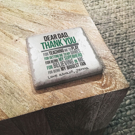 Softball Stone Coaster - Dear Dad (Autograph)