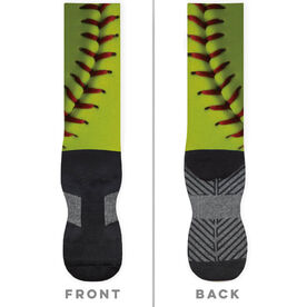 Softball Printed Mid-Calf Socks - Photo Stitches