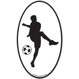 Soccer Guy Oval Car Magnet (Black)