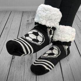 Soccer Slipper Socks with Sherpa Lining