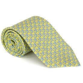 Laxer Players Pattern Yellow Lacrosse Silk Tie