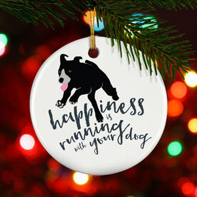 Running Porcelain Ornament Happiness Is Running With Your Dog