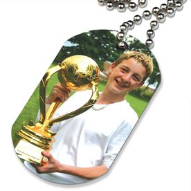 Custom Soccer Photo Printed Dog Tag Necklace