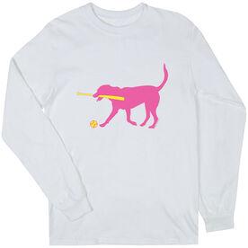 Softball Tshirt Long Sleeve Mitts the Softball Dog