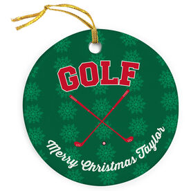 Golf Porcelain Ornament Crossed Clubs
