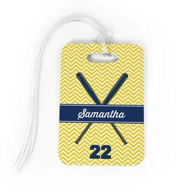 Softball Bag/Luggage Tag - Personalized Softball Crossed Bats Chevron