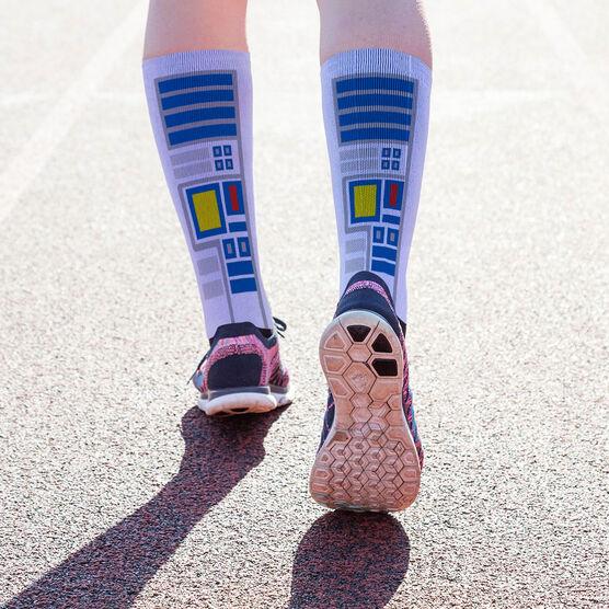 Printed Mid-Calf Socks - Robot