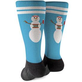 Running Printed Mid-Calf Socks - Runner Snowman