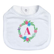 Personalized Baby Bib - Single Initial Floral Wreath