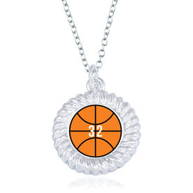 Basketball Braided Circle Necklace - Ball With Number