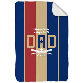 Softball Sherpa Fleece Blanket - Greatest Dad Stripes