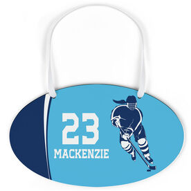 Hockey Oval Sign - Personalized Hockey Girl with Big Number