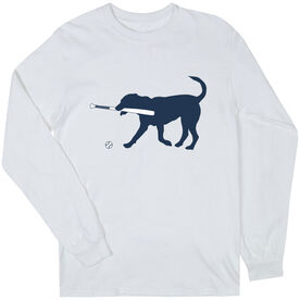 Baseball T-Shirt Long Sleeve - Navy Baseball Dog